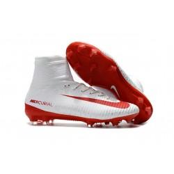 Korki Piłkarskie - Tanie Nike Mercurial Superfly V FG Biały Czerwony