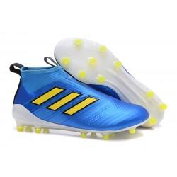 Najnowsze Buty piłkarskie Adidas ACE 17+ PureControl FG Niebieski Żółty Biały