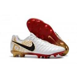Tanie Buty piłkarskie Nike Tiempo Legend VII FG Białe Złoto Czarne