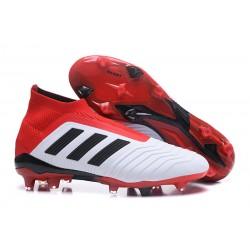 Buty piłkarskie Meskie - Adidas Predator 18+ FG Biały Czarny Czerwony