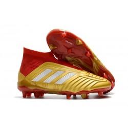 Nowe Korki Piłkarskie Adidas Predator 18+ FG Złoty Czerwony Biały