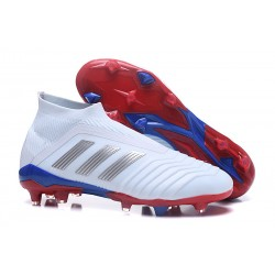 Buty piłkarskie Meskie - Adidas Predator 18+ FG Srebrny Czerwony Niebieski