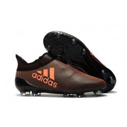 Korki Piłkarskie Meskie adidas X 17+ FG - Core Czarny Solar Czerwony Solar Pomaranczowy