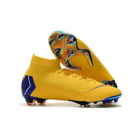 Najlepiej sprzedaż hurtowa duża obniżka Buty Korki 2018 Nike Mercurial Superfly VI 360 Elite FG Białe Złoto - Żółty  Niebieski
