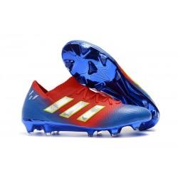 Buty piłkarskie Meskie Adidas Nemeziz Messi 18.1 FG Czerwony Niebieski Srebrny