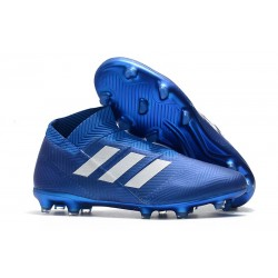 Profesjonalne - Korki Piłkarskie adidas Nemeziz 18+ FG - Niebiesko Biały