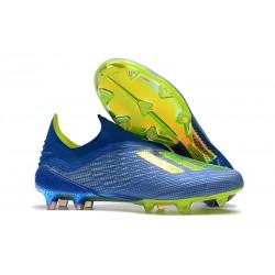Meskie Buty piłkarskie adidas X 18+ FG Piłka Nożna Niebieski Słoneczny Żółty Rdzeń Czarny