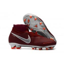 Buty piłkarskie Nowe Nike Phantom VSN Elite DF FG - Czerwony Ciemny Szary Metalik Jasny Karmazyn