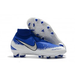 Meskie Buty piłkarskie Nike Phantom VSN Elite DF FG - Niebieski Biały Srebro
