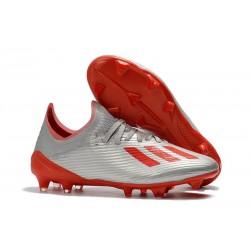 Buty Piłkarskie adidas X 19.1 FG Srebro Czerwony