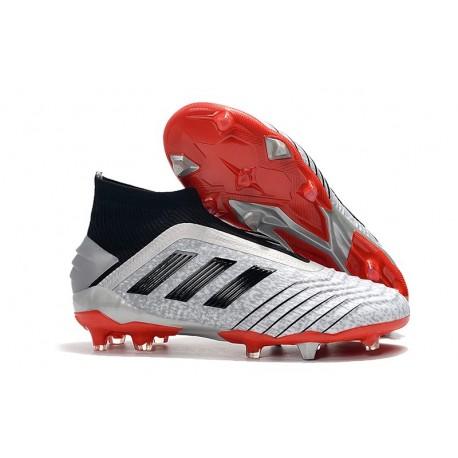 Adidas Predator 19+ FG Buty Piłkarskie - Srebro Czarny Czerwony