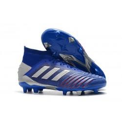 Sklep - Korki Piłkarskie adidas Predator 19.1 FG Niebieski Srebro