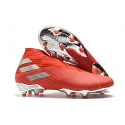 Adidas Buty Piłkarskie Nemeziz 19+ FG - Czerwony Srebro