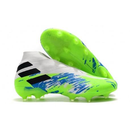 Adidas Buty Piłkarskie Nemeziz 19+ FG - Biały Zielony Niebieski