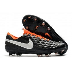 Buty Piłkarskie Tiempo Legend 8 Elite FG Czarny Biały Pomarańczowy