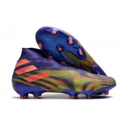 Adidas Buty Piłkarskie Nemeziz 19+ FG - Fioletowy Zielony Pomarańczowy