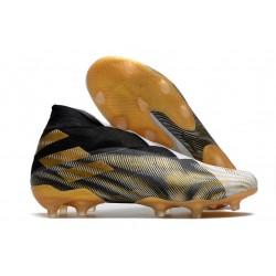 Adidas Buty Piłkarskie Nemeziz 19+ FG - Biały Złoty Czarny