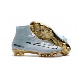 Nowe Buty piłkarskie Nike Mercurial Superfly V FG Białe Złoto